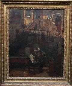 Self Portrait at Work - British Impressionist oil painting interior artist easel