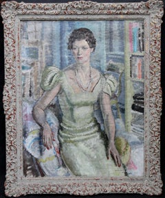 Portrait of Lady - British Post Impresionist  oil painting woman. (Floral Verso)