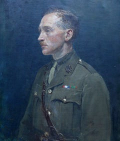 A Portrait of Dr Anderson - British oil painting military uniform WWI green blue