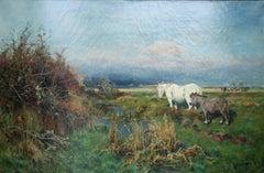 Nottingham Landscape - British oil painting white horse donkey gypsy camp