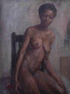 Nude - British Impressionist oil painting seated black woman female artist