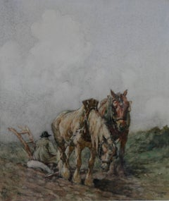 Horses - Top of the Hill - Scottish Impressionist oil painting ploughing field