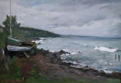 Wintery Coast - Norweigan Impressionist oil painting wooded coastline sea boats