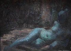 Nude Portrait in Blue - Surrealist oil reclining woman gardenscape female artist