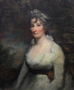 Lady Dundas - Old Master Scottish oil painting portrait woman white dress