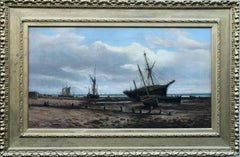 Ipswich Coastal Marine - British Victorian oil painting beach boats sea
