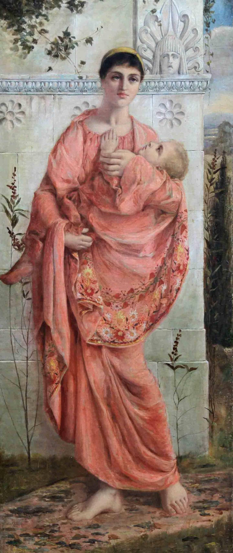 Classical Mother and Child - British Pre Raphaelite oil standing portrait