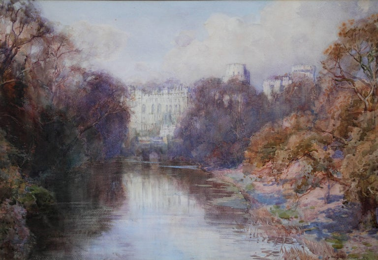 Warwick Castle - British painting riverscape trees monument autumn