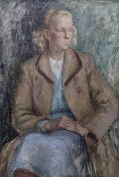 Portrait of a lady  - British Post Impressionist oil painting blonde woman