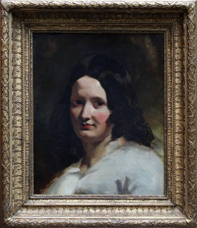Portrait of a Lady - Old Master British oil painting woman white dress