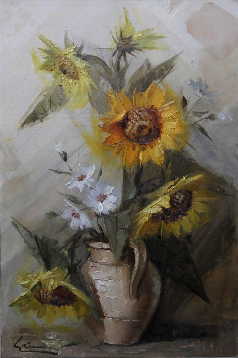 Stanley grimm sunflowers british impressionist still life floral sunflowers british impressionist still life floral oil painting yellow flowers painting by stanley grimm mightylinksfo