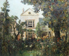 Thomas Carlisle House and Garden - Scottish Impressionist oil painting