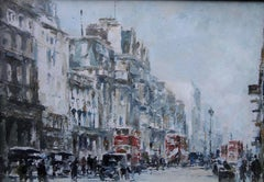 Piccadilly - Post War London - British Impressionist oil painting cityscape