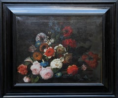 A Mixed Bunch - Old Master Dutch floral still life oil painting roses carnations