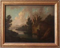 Capriccio Arcadian Landscape - Old Master Flemish Dutch oil painting riverscape