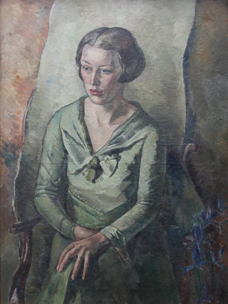 Portrait of Mrs Bouverie Hockey- Art Deco oil painting seated woman green dress - Painting by James Morey Hockey
