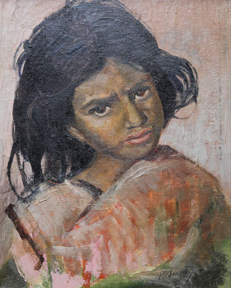 Portrait of a Young Girl- British Impressionist oil painting - Painting by Philip Naviasky