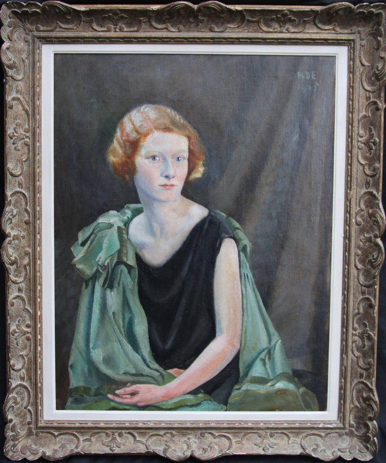 Portrait of a Lady - Art Deco oil painting British listed artist green shawl