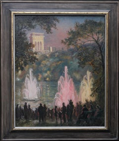 Fountains at Pernes Les Eaux Provence - Impressionist landscape oil painting