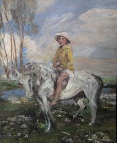 Artist's Grandson Jeb Keigwin on Pony - Edwardian Impressionist oil painting