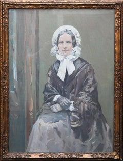 Ruby - Scottish Colourist 1920's oil painting portrait woman in bonnet