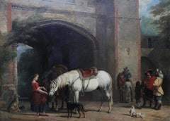 Interior of a Courtyard - British Old Master oil painting animal artist dogs
