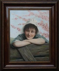 Girl under Blossom - Portrait oil painting spring landscape German listed artist