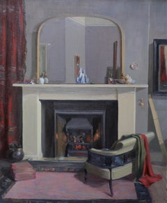 Scottish Interior - Realist oil painting artist's home exhibited work fireplace