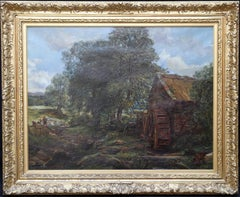 Old Mead Mill - Scottish Victorian Impressionist landscape oil painting children
