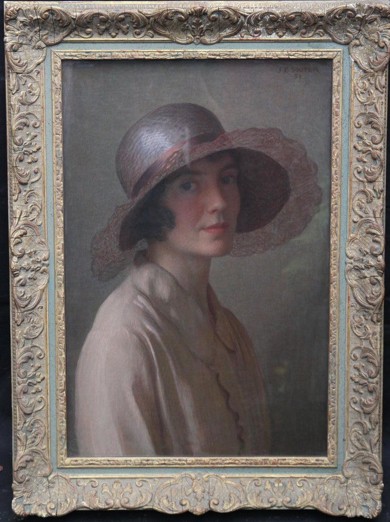 John Bulloch Souter Portrait Painting - The Pink Bonnet - Scottish oil pastel portrait painting, probably artist's wife