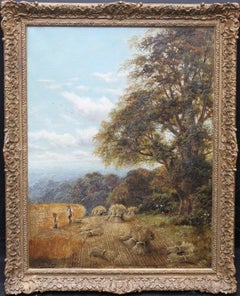 Surrey Harvest Landscape - British Victorian oil painting summer wheat setting