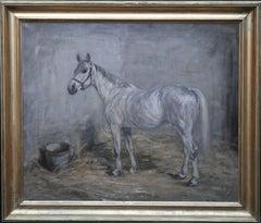 Portrait of a Grey Horse - oil painting Scottish Impressionist Art - War Period