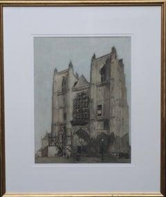 Cathedral Restoration - British/Dutch Art Victorian watercolour