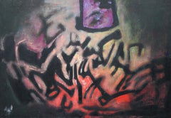 Cauldron 1975 - Abstract Expressionist oil painting - British Guyanese Art