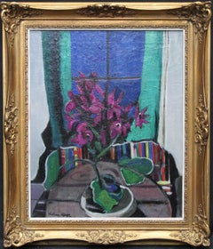 Still Life of Flowers - British Post Impressionist purple floral oil painting