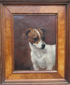 Tristy 1887 - Victorian Jack Russell dog portrait oil painting English school