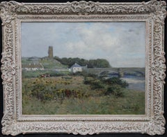 The Auld Brig Ballantrae - Scottish 19th C Impressionist landscape oil painting