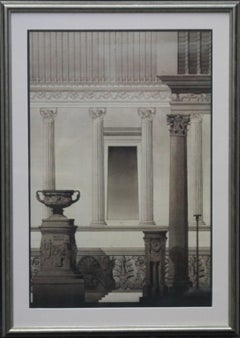 Architectural Drawing - Victorian Classical columns urn pen ink watercolour