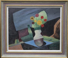 Floral Still Life - British Post Cubist oil painting yellow red flowers interior