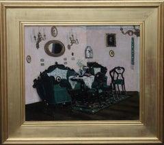 Scottish Interior - Edwardian oil painting sitting room green suite gilt frame