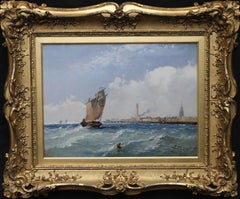 Calais Marine Scape  - British seascape oil painting nautical scene boats