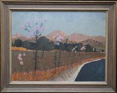 Roadside Thistles Cyprus - Post Impressionist 1960's landscape oil painting art