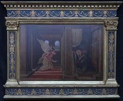 The Annunciation - Italian Victorian Pre-Raphaelite oil painting religious art