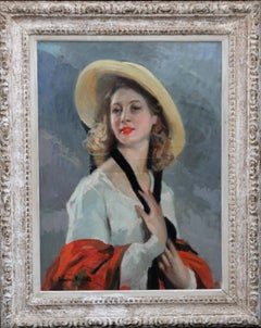 Girl in a Straw Hat - French Post Impressionist female portrait oil painting art