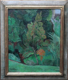 Trees - Post Impressionist 30's landscape oil painting by British Modernist art