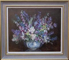Blue Floral Arrangement - Art Deco tonalist oil painting female artist
