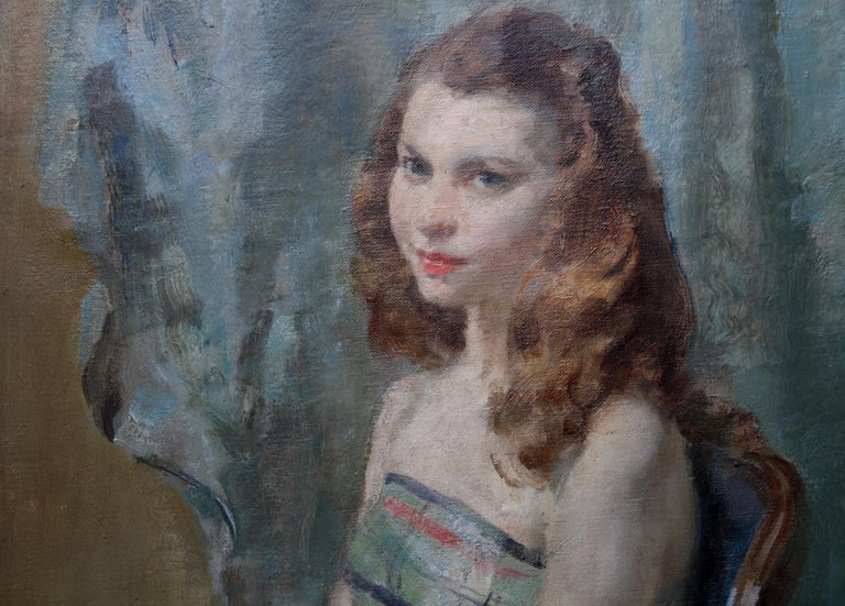 Portrait Young Woman Sitting - British Impressionist oil painting. Early 20thC - Gray Portrait Painting by Walter Ernest Webster