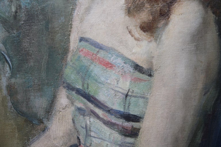 Portrait Young Woman Sitting - British Impressionist oil painting. Early 20thC For Sale 1