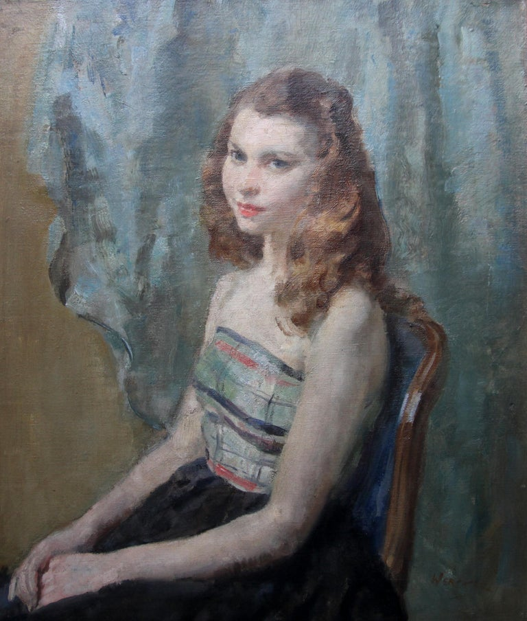 Portrait Young Woman Sitting - British Impressionist oil painting. Early 20thC For Sale 4