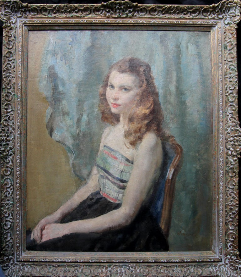 Portrait Young Woman Sitting - British Impressionist oil painting. Early 20thC For Sale 5